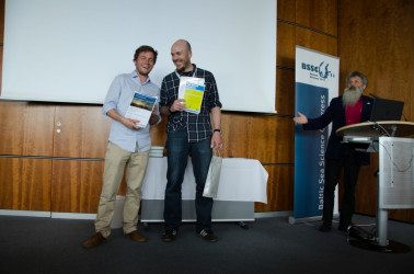"Jens Daniel Müller (Leibniz-Institute for Baltic Sea Research Warnemünde) and Ronny Weigelt (University of Rostock) were honoured for ""Best newcomers poster presentations"" at the BSSC 2017."